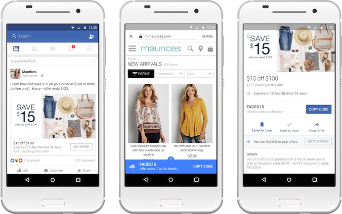 Facebook Offers gets revamped for mobile, now lets you track saved coupons in a dedicated section