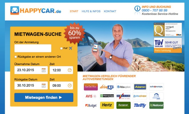 Car Rental Price Comparison Startup Happycar Picks Up Backing From Rocket Internet's GFC