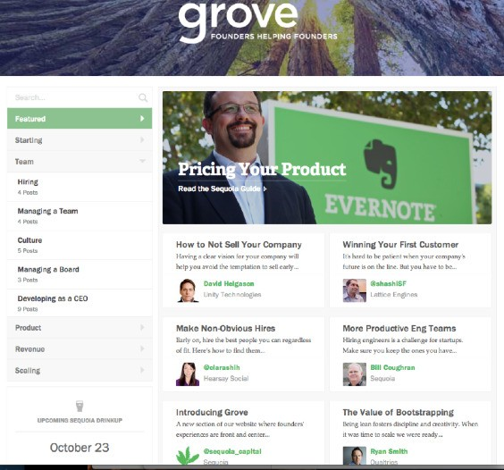 Meet Grove, Sequoia Capital's New Startup Events And How-To Content Hub