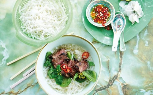 Rice noodle pho with rare beef and star anise