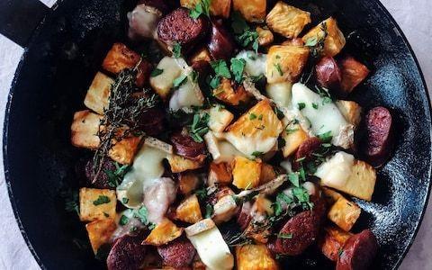 Celeriac hash with chorizo and taleggio recipe