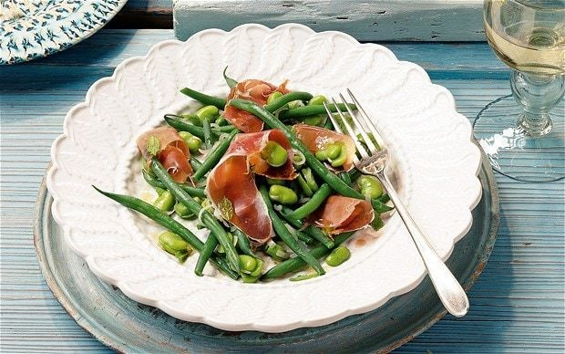 Broad beans and French beans with Serrano ham and mint recipe