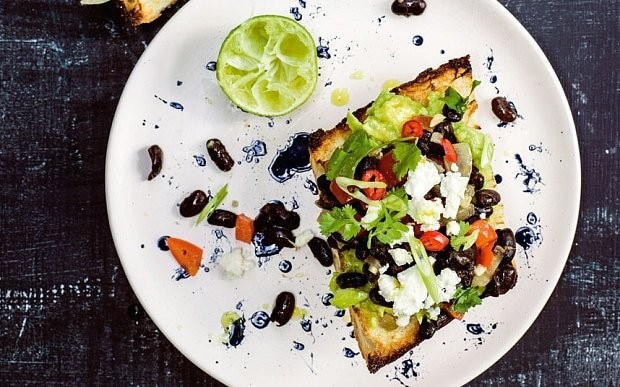 Spiced avocado toast with black beans recipe