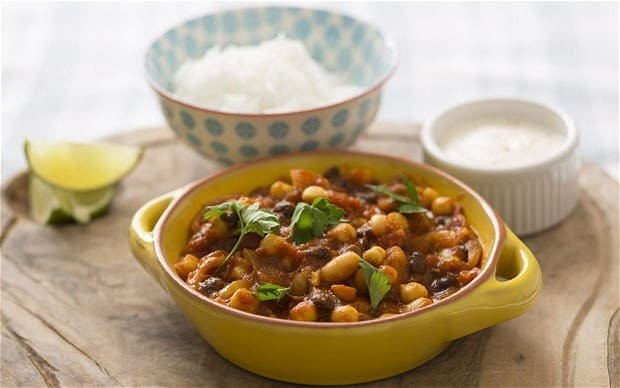 Speedy weeknight suppers: chick pea and black-eyed bean chilli