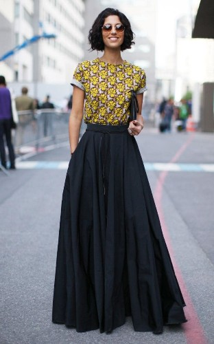 How to style a maxi skirt for the office