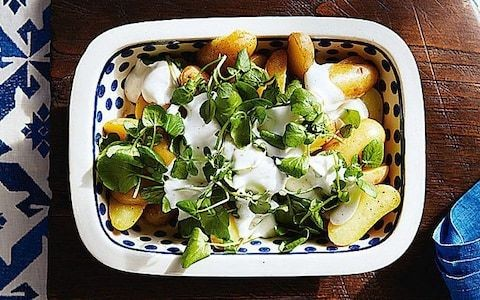 Baby potatoes with watercress and garlic crème fraîche recipe
