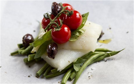 Speedy weeknight suppers: cod, green bean and tomato parcels