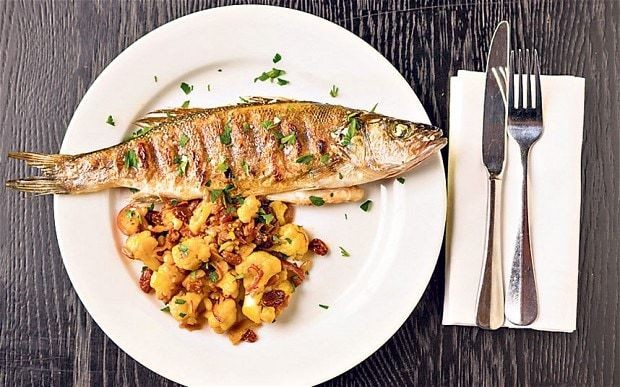 Cauliflower recipes: Cauliflower, saffron, sultanas and pine nuts with grilled fish