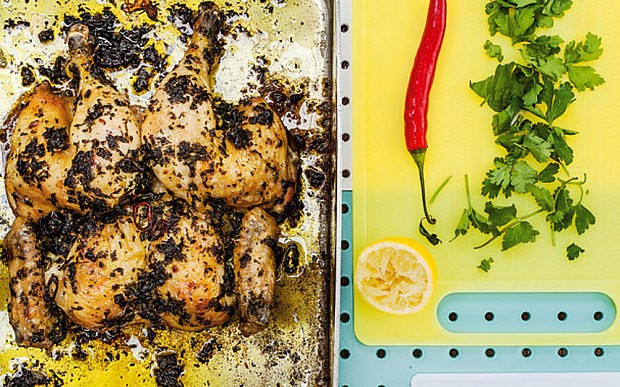 Boozy chicken with sweet pepper sauce