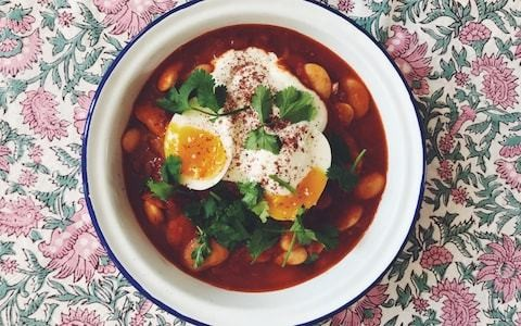 Tonight's dinner: Spiced butter beans with soft boiled eggs and yoghurt