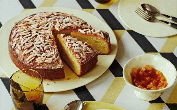 Almond and saffron cake with golden-raisin syrup recipe