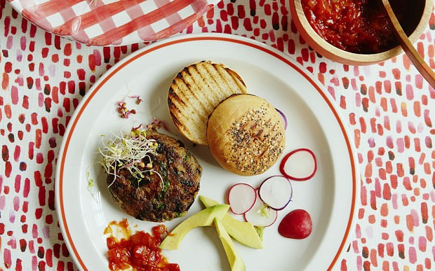 The New Vegetarian: Aubergine burgers with tomato relish