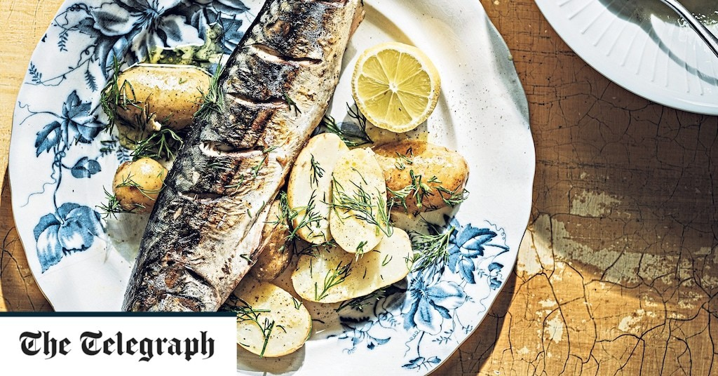 Grilled mackerel with potato and dill salad recipe