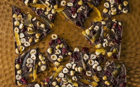 Chocolate bark with hazelnuts, orange and dried cranberries