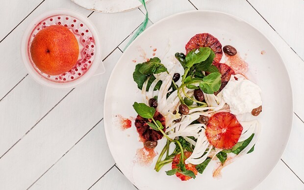 Blood oranges with fennel, watercress, olives and burrata recipe