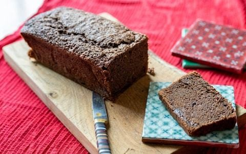 Mocha loaf cake with brandy-soaked prunes and cardamom recipe