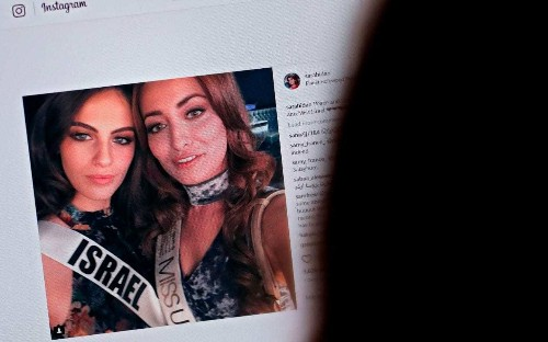 Family of Iraqi beauty queen 'forced to flee country after she took a selfie with Miss Israel'