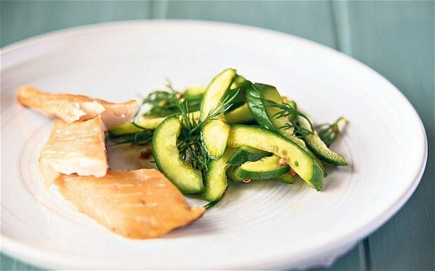 Warm smoked mackerel with pickled cucumbers recipe