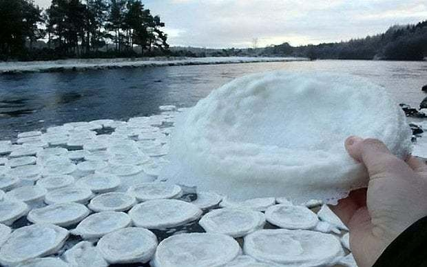 'Ice pancakes' pictured floating on River Dee