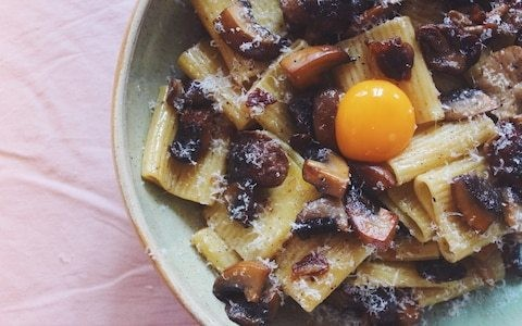 Tonight's dinner: Pasta with brown butter mushrooms and egg yolk recipe