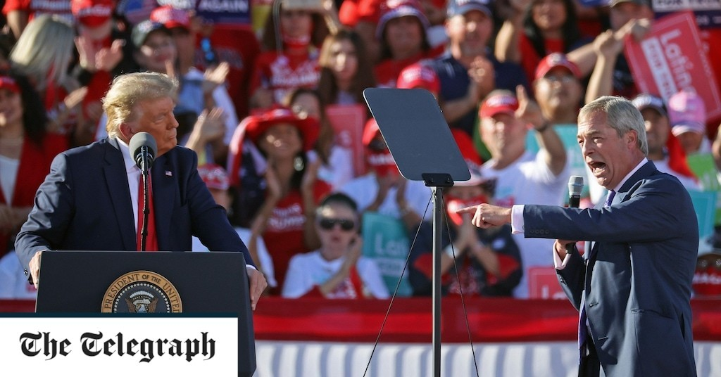 Nigel Farage delivers surprise speech at Donald Trump rally in Goodyear, Arizona