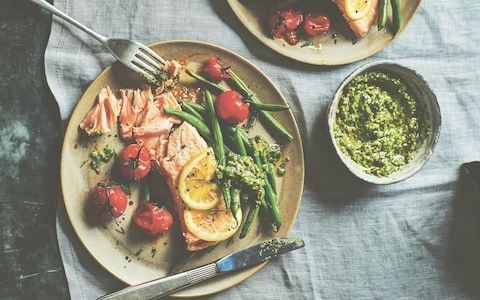 Salmon fillets with vine tomatoes, beans and green sauce recipe