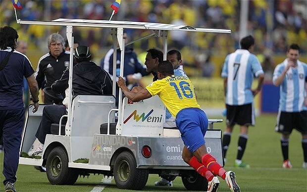Javier Mascherano sent off for Argentina after kicking medic in World Cup qualifier against Ecuador