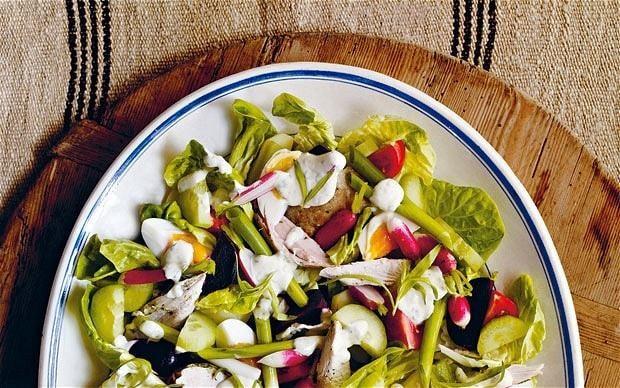 Warm English chicken salad with tarragon salad cream recipe