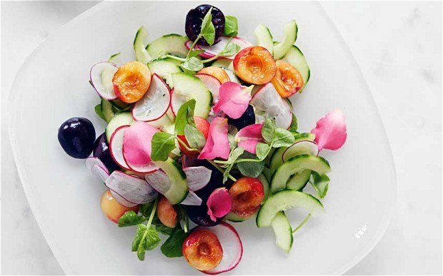 Salad of cucumber, radishes and cherries recipe