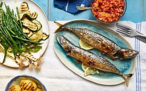 Whole grilled mackerel with barbecued vegetables and romesco sauce recipe