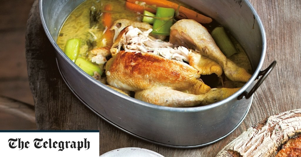 Chicken in the pot with vegetables and barley recipe