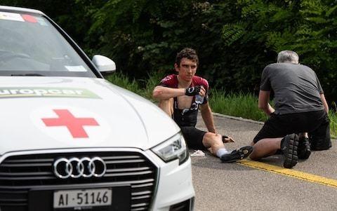 Geraint Thomas optimistic of defending Tour de France title, despite nasty crash, as he tweets 'Luckily I'm all OK'