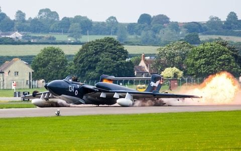 Last Sea Vixen plane , 'Foxy Lady', performs emergency landing