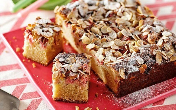 New Baker: Rhubarb squares with orange-flower water, almonds and mint