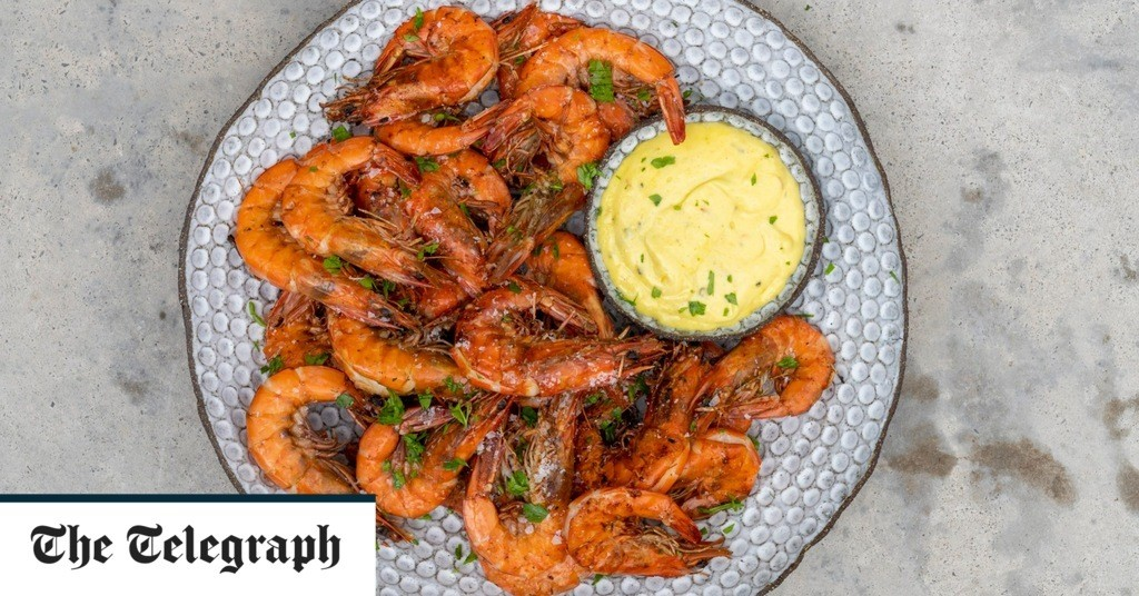 Barbecue prawns with saffron aioli recipe