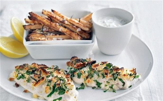 Crispy lemon fish with yogurt tartare and potato fries recipe