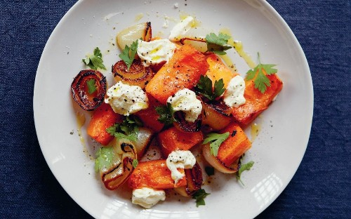 Roast pumpkin and charred onion salad recipe