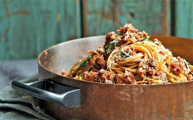 Carluccio's spelt spaghetti with sausage sauce recipe