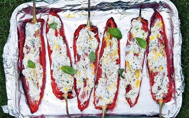 Barbecued romano peppers with goat's cheese recipe