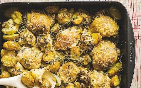 One pot Parmesan roast chicken and cauliflower recipe