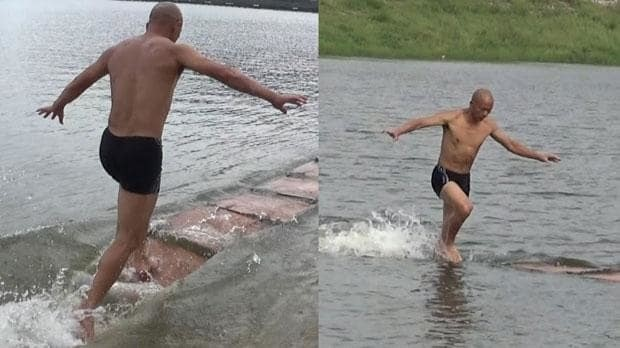 Shaolin monk breaks world record for 'running on water'