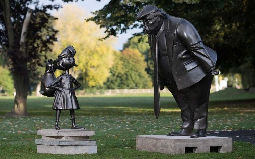 Statue of Matilda facing down Donald Trump unveiled near Roald Dahl's home