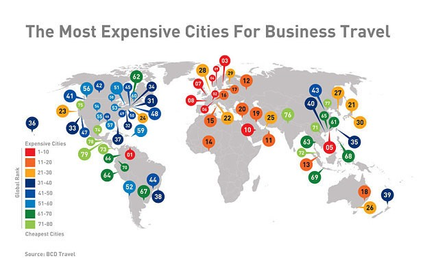 The world's most expensive cities for business travel