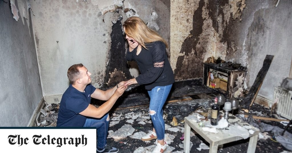 Man accidentally sets fire to his flat after using 100 tea lights to write 'Marry me?' for girlfriend
