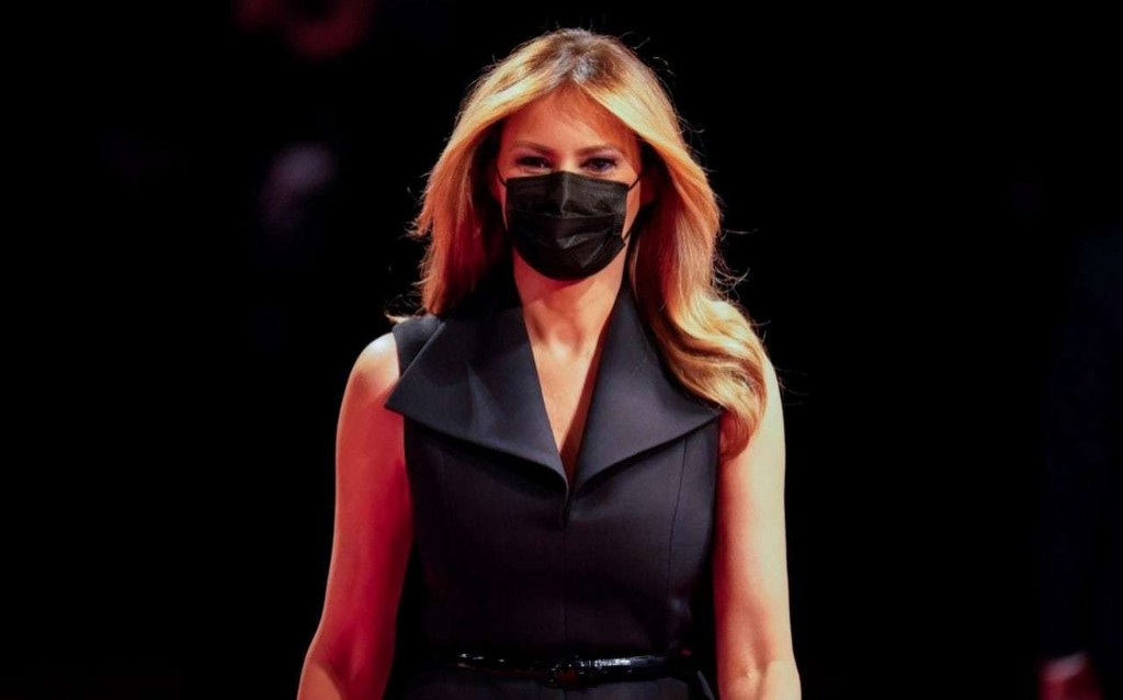Melania Trump tries the mask-matching trend in her first appearance since recovering from Covid