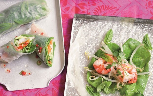 Vietnamese prawn and herb summer rolls recipe
