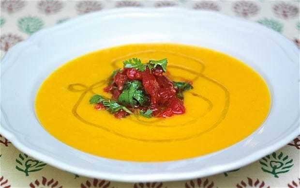 Squash soup with ripe tomato relish recipe