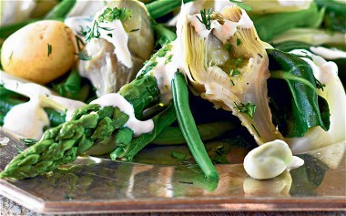 Spring vegetables with spiced yogurt and chilli oil recipe