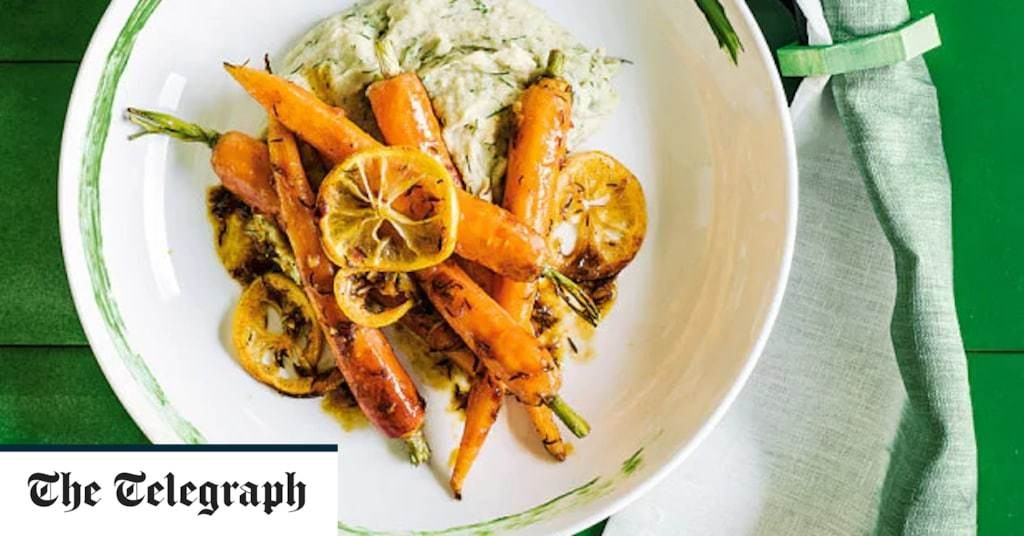 Harissa-roasted carrots with white-bean and dill purée recipe