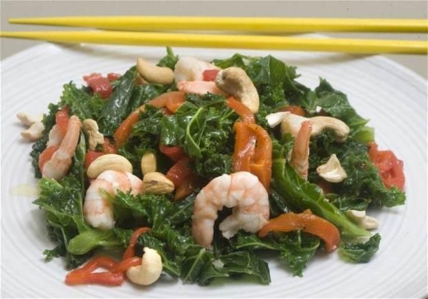Speedy weeknight suppers: kale, king prawn and cashew stir fry